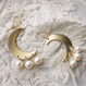 Crescent moon pierced(pearl)