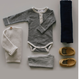 【Jamie kay】Stripe Bodysuit - Oatmeal/Navy
