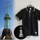 おとなラインポロシャツ ブラック(旧神戸港信号所)