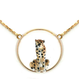 Sitting leopard mini round necklace