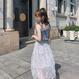 【即納】シャーリングフリルトップス&フラワーレースフレアスカートセット