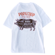 PORKCHOP - PORK BACK TEE (WHITE×DARK BROWN)