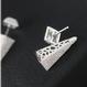 925 Silver Asymmetrical Studs Earring(925ジルコニアパヴェ付き アシンメトリースタッズピアス)