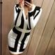 "Tow Tone Color V-Neck Bandage  Dress (Vネックモノトーンバンデージワンピース ""白地黒ストライプ"")"