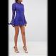 Flare Sleeve Sear Lace Dress In Purple (フレアスリーブ シアーレースワンピ)