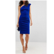 Shoulder Padded Scuba Dress In Midnight Blue (ミッドナイトブルー・ショルダーパッド スキューバーワンピ)