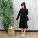 FRILLED  HEM DRESS black