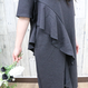 SIDE FRILLED  DRESS gray