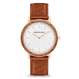 The Minimalist - Zebrawood/RoseGold/Cognac Brown Leather Band