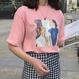 レトロ風 ピンク Tシャツ 可愛い