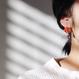 Vermilion chalcedony dot earrings