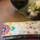 京都産正絹 帯のクラッチバッグ 豪華白銀華丸文様刺繍