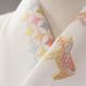 メリーゴーランド刺繍 白地上の馬がピンク