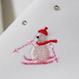 雪だるま刺繍 半衿 白ピンクスキー