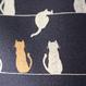 猫いっぱいの帯揚げ ネイビー