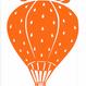 ワンポイントシリーズ【網カゴのいちご気球】12cm版