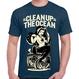 """""""Clean Up the OCEAN"""" Tee / Heather Navy"""