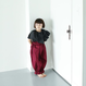folk made  long pants  with suspenders  ワイン LLsize