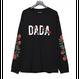 DADA Logo Rose All Embroidered Long Sleeve T-Shirt black