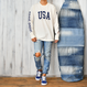 United States Of America Pigment-Dyed Long Sleeve Tee【White】