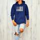 The American flag hooded sweatshirt【Indigo】