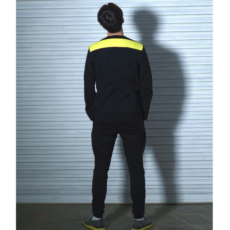 No Collar Jacket (BLACK×NEON YELLOW)