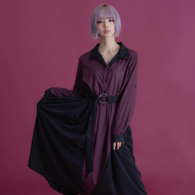 joker open collar one-piece / Burgundy & Black
