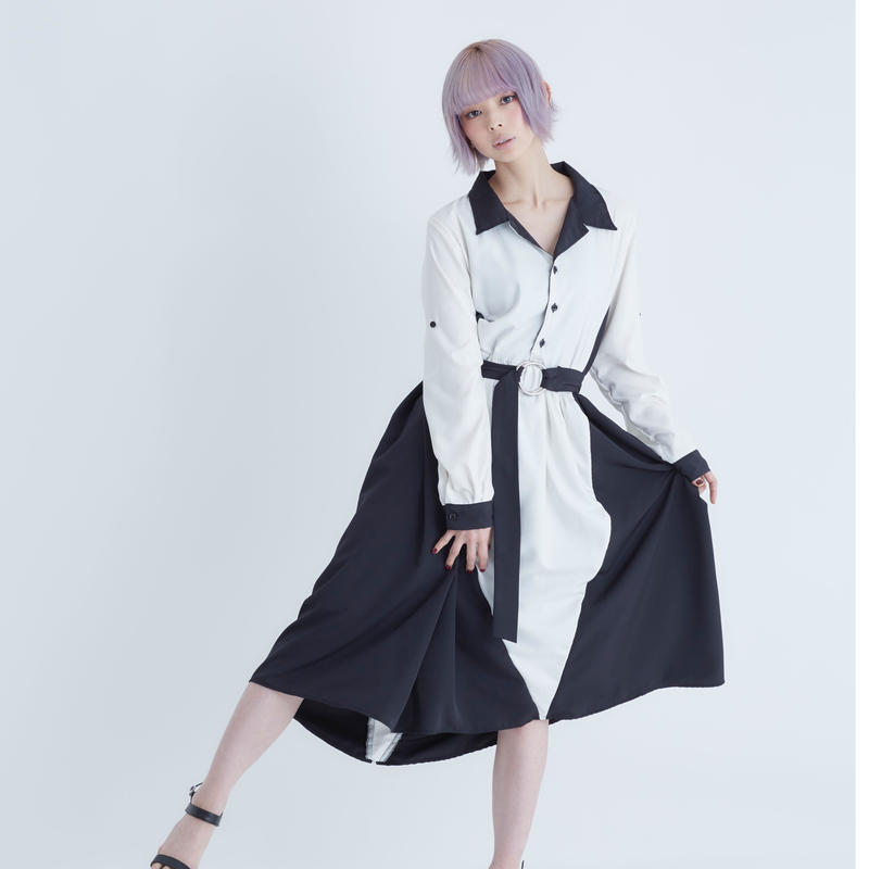 joker open collar one-piece / White & Black