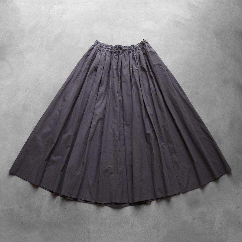 ふんわりコットンロングスカート(チャコールグレー)【レディス】