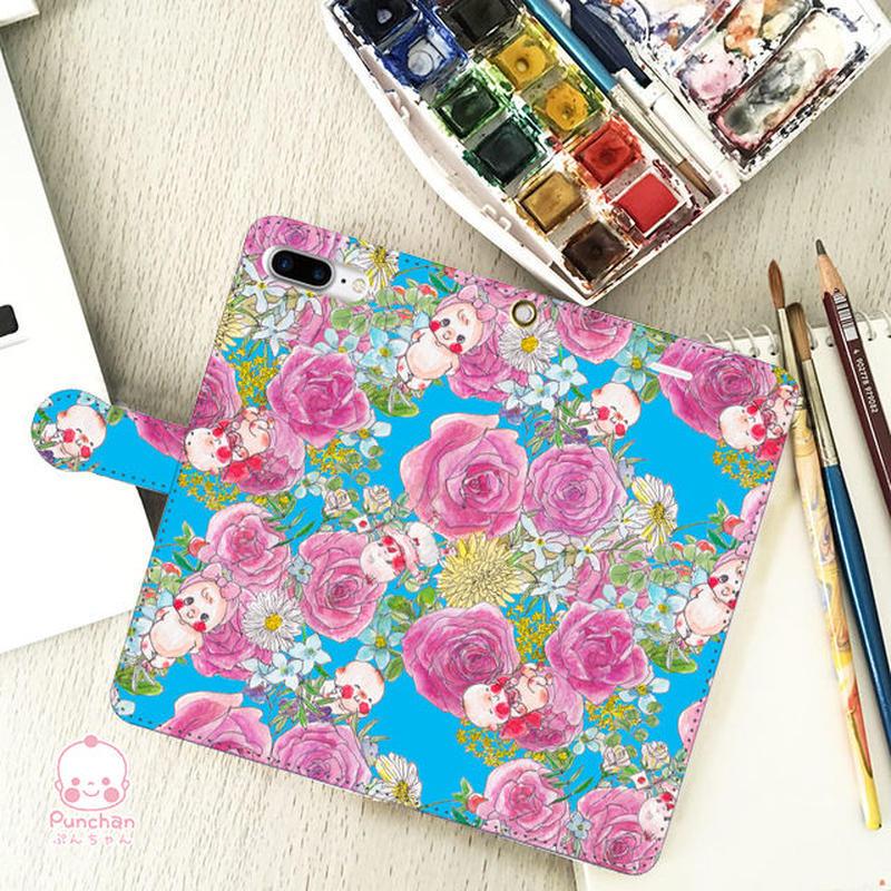 ぷんちゃんローズブルーiPhone8Plus/iPhone7Plus/6Plus/6sPlus/AndroidL手帳型スマホケース