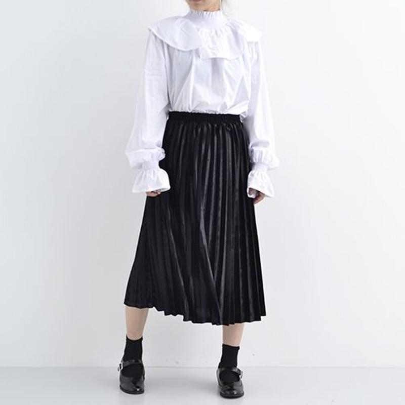 光沢プリーツベロアスカート