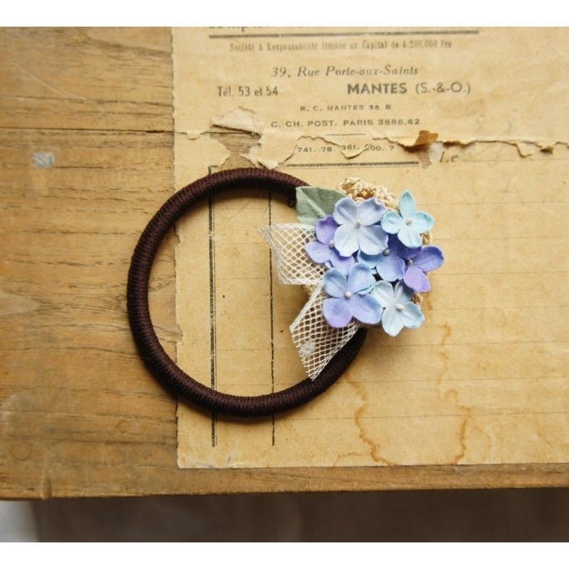 紫陽花のアンティークヘアゴム