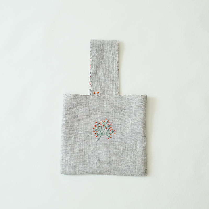 linen embroidery petit bag/micä
