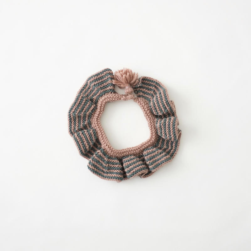 Ruffle Collar・moss green×pink brown/FUZPPAmencoi