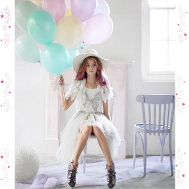 Tutu du monde★スパンコールの蝶蝶とアシメトリーのチュールスカートが美しいチュチュドレス (12歳用)