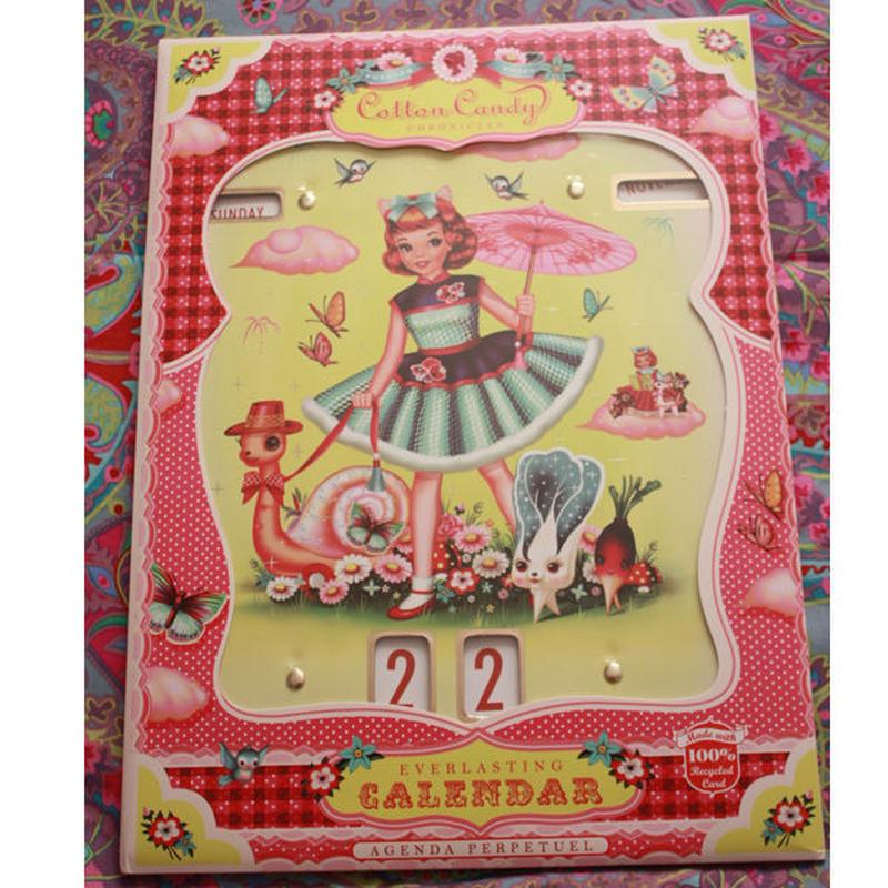 インポートカレンダー【Wu & Wu】ねこガールとカタツムリ等のキッチュなフレンズの日めくりカレンダー【cotton candy】Calendar