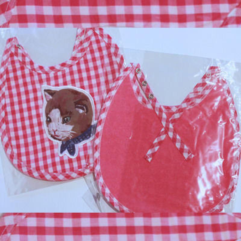 ナタリーレテNatalie Lete☆ネコのアプリケが可愛いギンガムチェックのスタイ(ピンク)Kitty Bib