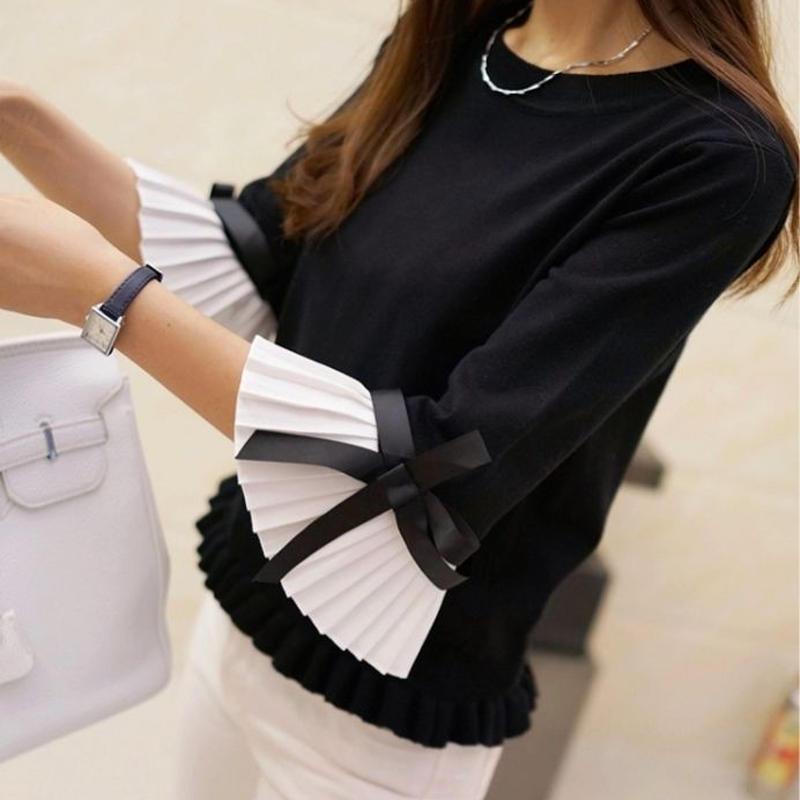 【NEW】お袖プリーツニット ブラック