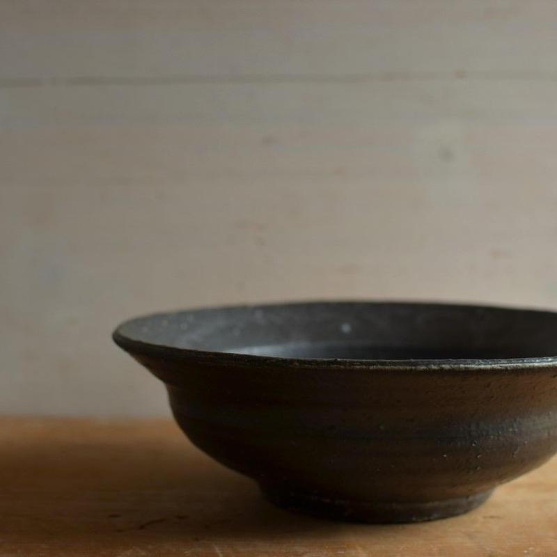 高田谷将宏さん 黒釉 6寸リム鉢