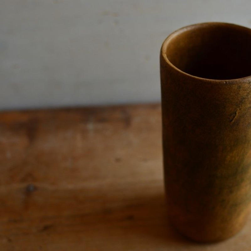 松本かおるさん 筒花器 ふき漆(5)