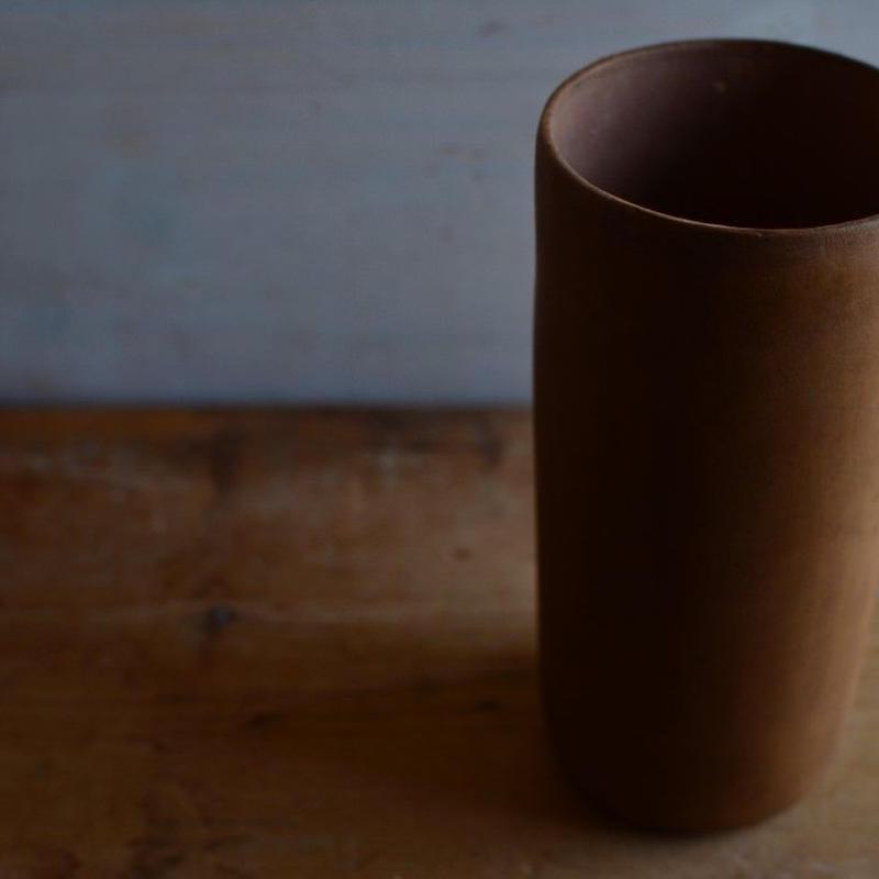 松本かおるさん 筒花器 ふき漆(4)
