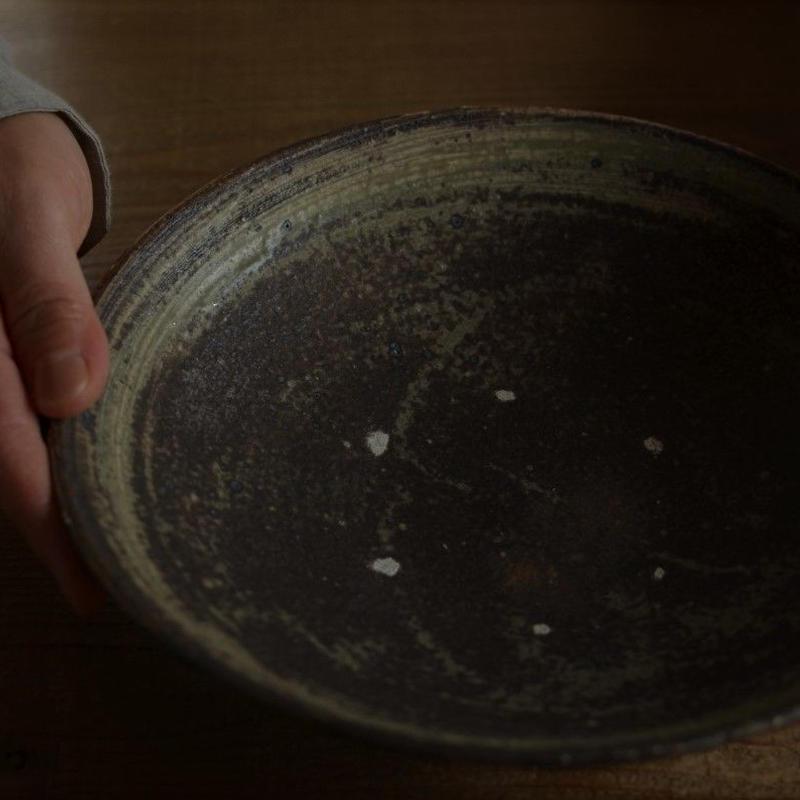 高田谷将宏さん 灰釉 7寸浅鉢