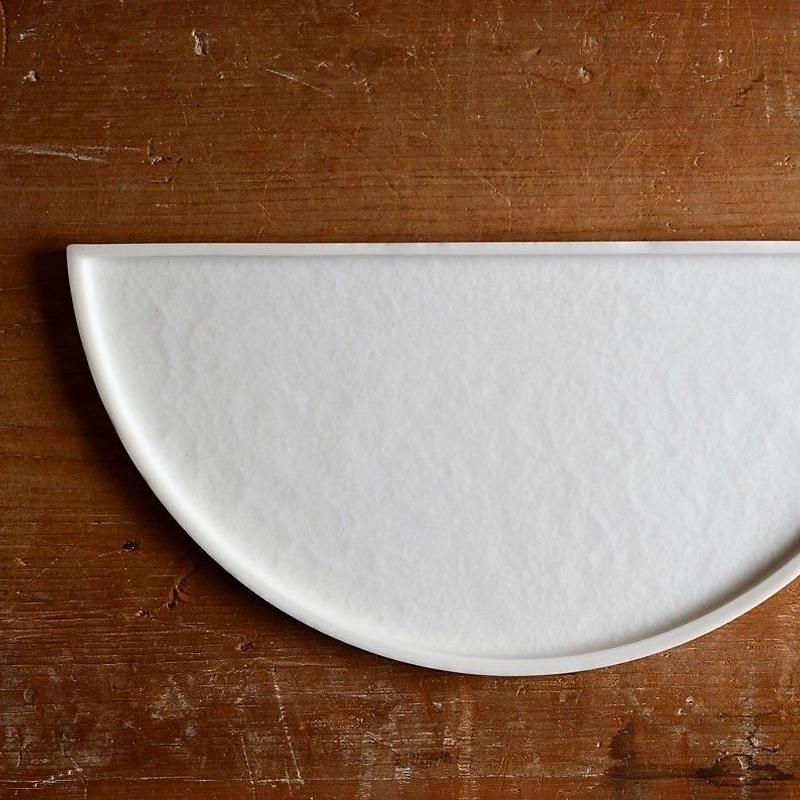 白石陽一さん 半月皿 白磁