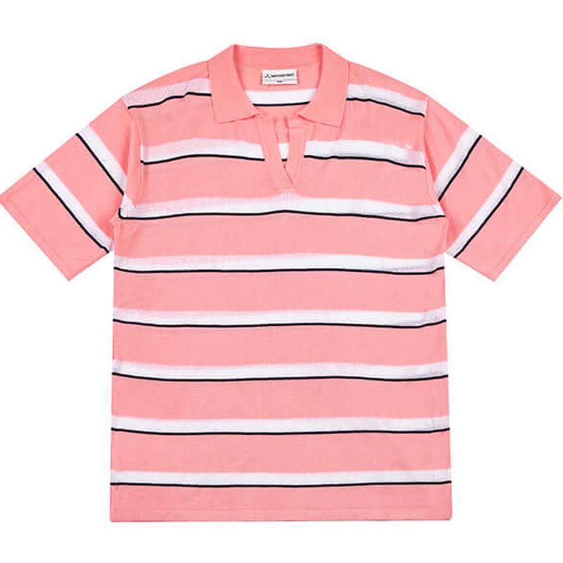 『Motivestreet』 ストライプサンマーニットベーシックカラーTee (Pink)