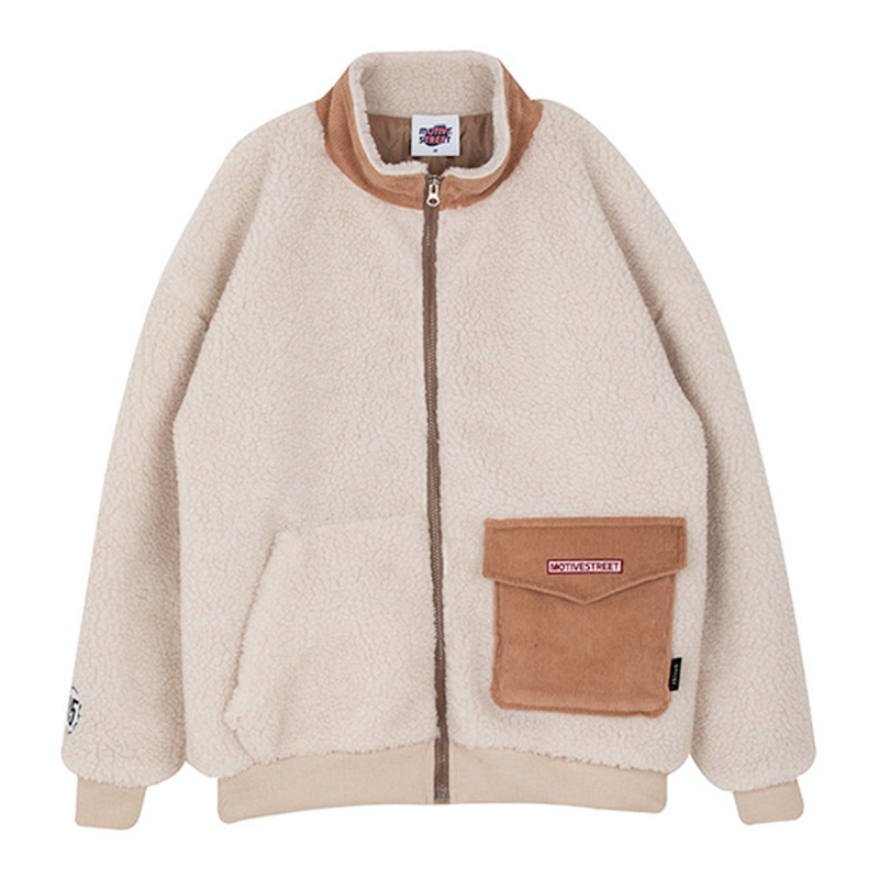 Motivestreet CORDUROY POCKET FLEECE JACKET (Ivory)