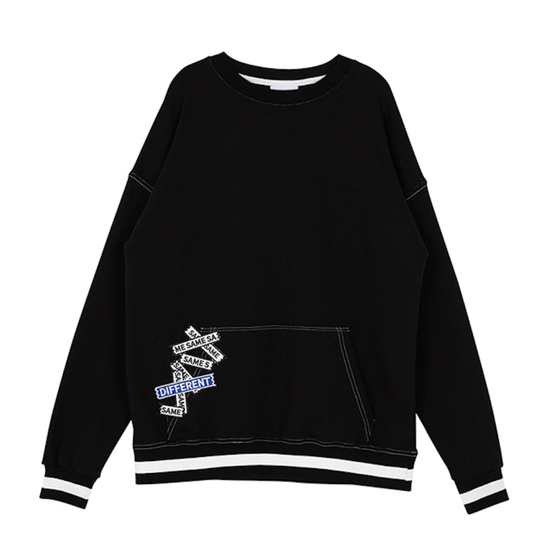 Motivestreet POCKET PATCH SWEAT SHIRT (Black)