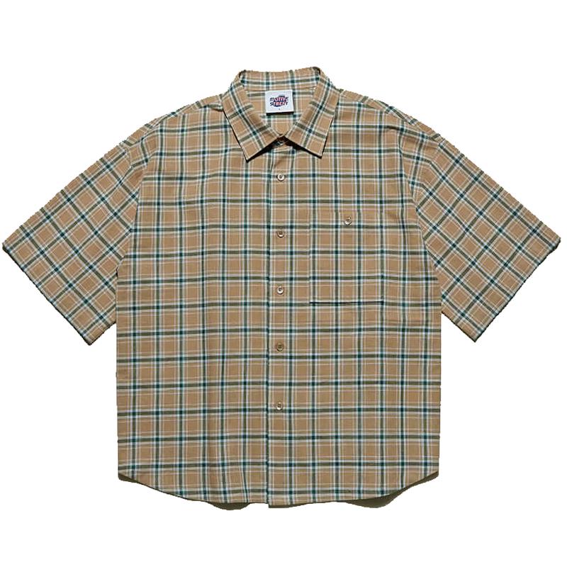 『Motivestreet』 チェックオーバーサイズシャツ (Beige)