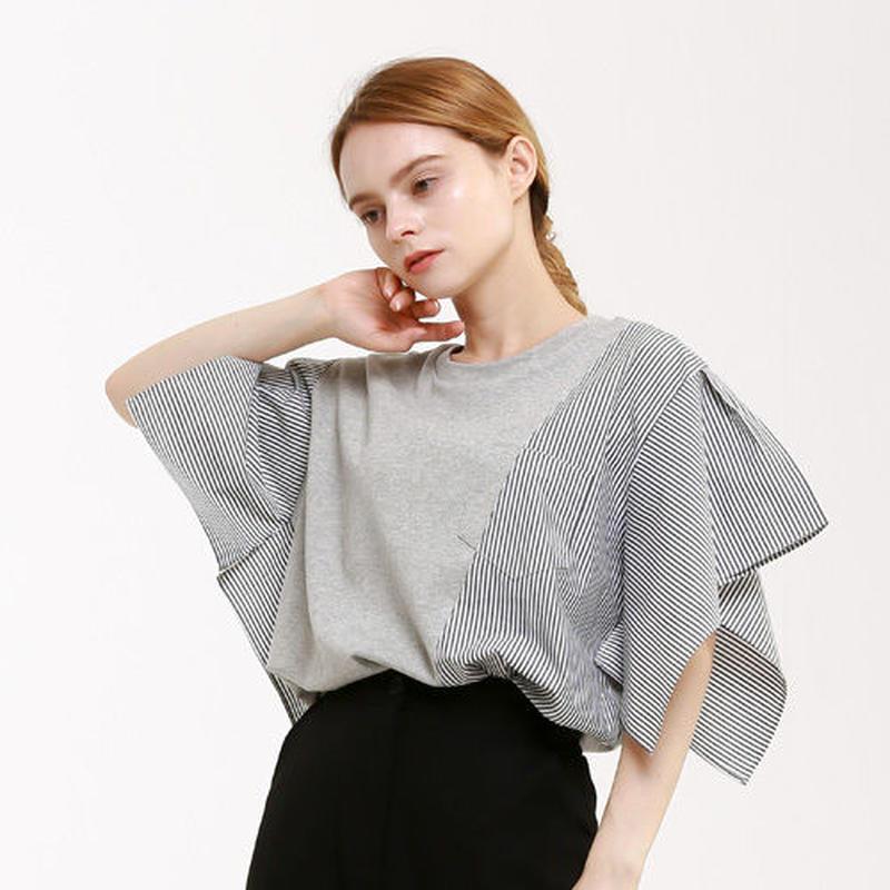 『Wunder Geist』 ストライプコンビネーションハンカチーフ半袖 Tシャツ (Gray)