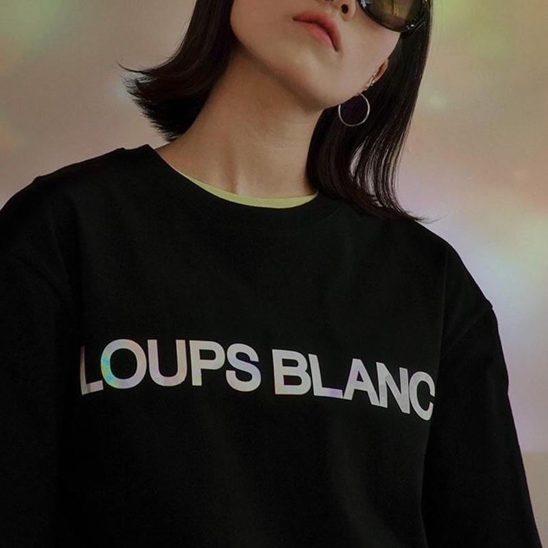 『LOUPS BLANCS』 ホログラムロゴ Tシャツ (Black)