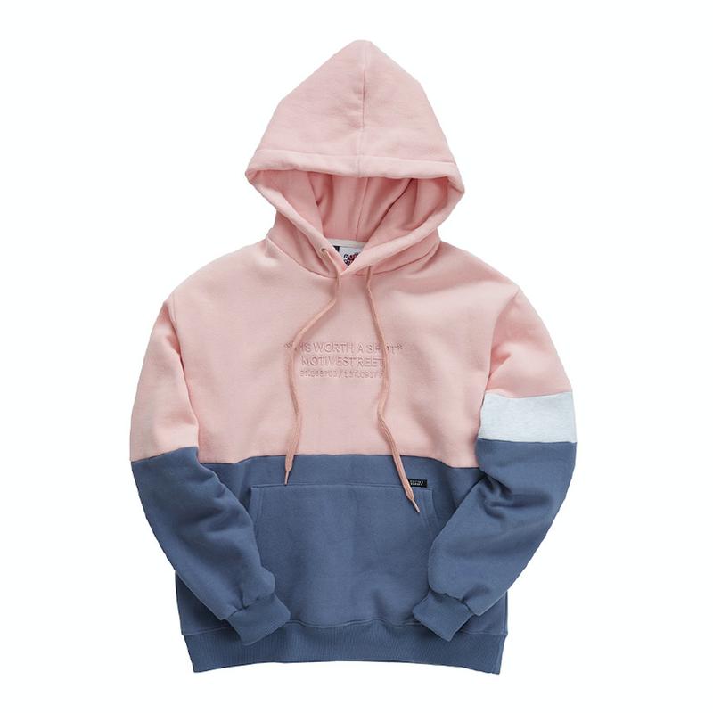 『Motivestreet』ハーフ ライン フードパーカー (Pink)